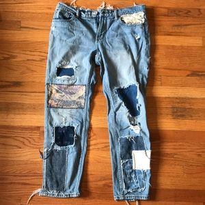Urban Outfitters Patched Boyfriend Jeans